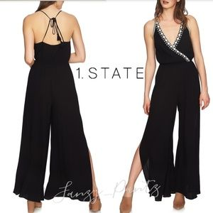 1. State jumpsuit halter embroidered wide leg new